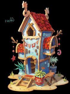 stone house, Inna Stefanova on ArtStation at… Game Design, Prop Design, Environment Concept Art, Environment Design, Isometric Art, Modelos 3d, Fantasy House, House Illustration, Game Concept