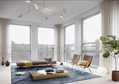 Swedish apartment development in former university building, Stockholm / Alexander White + Oscar Properties Oscar Properties, Stockholm Apartment, Living Spaces, Living Room, Apartment Design, Beautiful Interiors, Interiores Design, Decoration, Modern Design