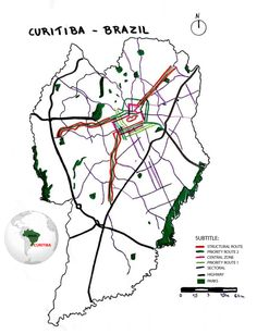 Week 1. Hello, my name is Vitoria, I'm a student of architecture and urbanism and I'm from Brazil. This is a traced map of Curitiba, in the South of Brazil. This city is a landmark in urban planning in the South America, mainly due to its public transportation system. The structural lines connect with the center of the city and are important for the composition of the transport. In green, are the parks of the city. Most of them own a lake, just thought for the drainage of water in the city.