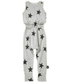 Nununu Babylong star romper$55.00-Heather grey Jumpsuit with black stars print and elastic waistbandand a wide cuff at the hem.