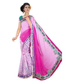Saree Colour : Pink Blouse Colour : Aquaa Green Collection : KSS102 Saree Fabric : Pallu Weightless + Brasso Blouse Fabric : Dhupian Saree Length : 5 Meter Blouse Length : 0.90 Cm Ptticoat : Not Available Stitching: Un_Stitched Work : Embroidered Style : New Arrival Saree