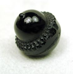 Antique Black Glass Button Realistic Acorn Design