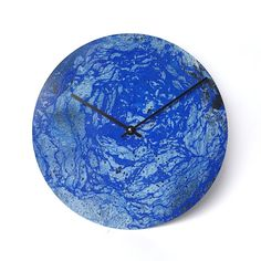 Blue wall clock, Unique handmade clock, painting clock, unique gift, artistic…