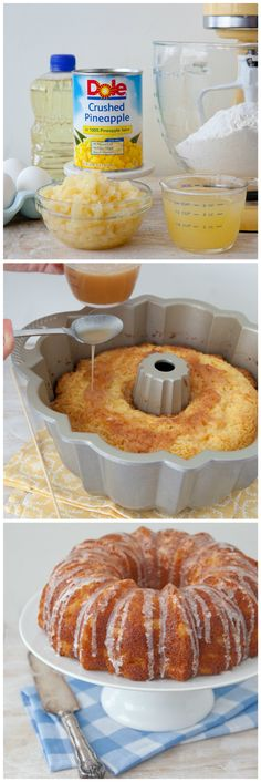 This moist pineapple poke bundt cake is great for entertaining and holidays.  It's a beautiful cake that is so easy, it can be made in under an hour.  Cake mix, instant vanilla pudding, a can of DOLE Crushed Pineapple, and a few other simple ingredients is all it takes!