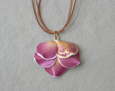 Real Flower Pendant With Golden Pattern - Botanist In Love Jewelry | HandmadeHome