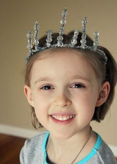 Simple Girl's Tiara made from silver pipe cleaners and clear beads by makeandtakes.com
