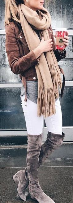 #fall #outfits / brown jacket + beige scarf + OTK boots