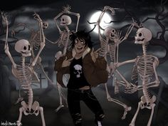 SPOOKY TIME, could you imagine Nico singing Thriller while dancing with the skeletons