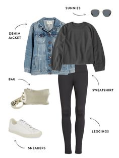 Budget-Friendly Fall 2020 Capsule Wardrobe for Moms | The Everymom Denim Jacket With Dress, Midi Dress With Sleeves, Capsule Wardrobe Mom, Simple Wardrobe, Winter Wardrobe, Nanny Outfit, Casual Fall Outfits, Winter Outfits, Lazy Outfits