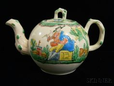 Staffordshire Salt-glazed Stoneware Teapot and Cover, England, c. 1760, globular shape with molded crabstock handle, spout, and knop, polychrome enamel decorated with minstrels in landscape settings