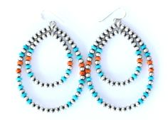 Navajo Pearl, Turquoise, and Spiney Oyster Dangle Earrings https://cowgirlkim.com/collections/whats-new/products/navajo-pearl-turquoise-and-spiney-oyster-dangle-earrings