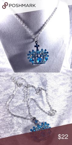 """Royal Blue Crystal Crown Statement Necklace Long 24"""" sweater necklace length. Silver chain. Crown is 2x2. Blue Crystal royal crown statement pendant. Like new condition. Jewelry received from large estate collection Also jewelry is costume jewelry unless otherwise noted. Save the most by bundling. I offer a 20% off discount if you get 2 or more items from my closet. Sorry no trades. Boutique Jewelry Necklaces"""
