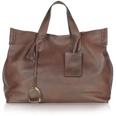 Ralph Lauren Collection Vintage Brown Soft Leather Saddle Tote ❤ liked on Polyvore