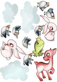 Sticker Planche Animaux de la Forêt, une jolie décoration murale pour la chambre d'une petite fille