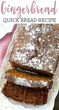 Soft, moist, molasses quick bread is perfectly seasoned with ginger and nutmeg. Gingerbread Loaf gives that classic holiday flavor that you love! Holiday Bread, Christmas Bread, Holiday Baking, Christmas Desserts, Christmas Baking, Christmas Recipes, Holiday Recipes, Gingerbread Loaf Recipe, Gingerbread Cake