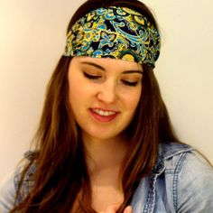 Stretchy Head Wrap, multicolor headband, navy blue headband, yoga headband turban, Women's Headband, Headwrap with Elastic Back, Turband. Yoga Headband, Head Wrap Headband, Navy Blue Flowers, Headbands For Women, Loose Hairstyles, Top Knot, Turban, Head Wraps, Flower Prints