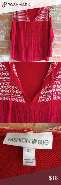 "Red Hoodie Sweater By Fashion Bug  XL This sweater is in EUC. Never worn. It measures 23"" underarm to underarm and is 29"" long. I love the hand warmer pockets on the front💕 would also fit a 1X 💜 Fashion Bug Sweaters Crew & Scoop Necks"