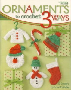 Oh, what fun it is to crochet a sleighful of festive Christmas ornaments! And it's especially delightful to create these happy designs in three different sizes -- just choose from worsted weight yarn, sport weight yarn, or cotton thread. If you can work a slip stitch, single crochet, and double crochet, you can create all of these designs. Bells, pom-poms, beads, and other small items are added for quick color and enchanting detail.
