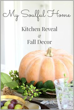 bHome Fall Tour - Kitchen Reveal & Fall Decor | My Soulful Home. Come see the before & after. White Kitchen, farmhouse sink, unlacquered brass faucet, vintage chandelier all adds up to a timeless & stunning transformation.