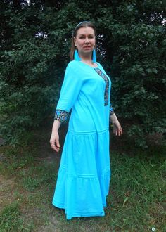 6e19ce3322 Long blue boho dress Full length slavic turquoise robe Maxi russian gown  with embroidered roses Cotton