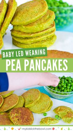 The best mini pea pancakes Mini pea pancakes, perfect for baby led weaning, packed with peas, oats and protein, perfect for savoury snack for kids Cheap Clean Eating, Clean Eating Snacks, Toddler Meals, Kids Meals, Toddler Food, Easy Toddler Snacks, Toddler Recipes, Food Kids, Kid Snacks
