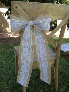Burlap Lace Bow/ Chair Sash. $6.50, via Etsy.