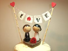Aditi's Kokeshi Wedding Cake Topper and Two by IttyBittyWoodShoppe, $91.00
