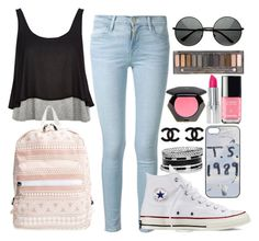 """""""Untitled #430"""" by cupcakes077 ❤ liked on Polyvore featuring Frame Denim, GUESS, River Island, Nila Anthony, Converse, Urban Decay and H&M"""