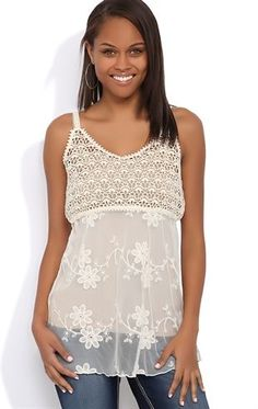 Deb Shops #Crochet and Lace Babydoll Tank with Embroidered Flowers $17.92