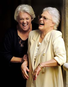 Tyne Daly and Sharon Gless  enjoy themselves as they pose together for a portrait in Los Angeles, 2012. (Chris Pizzello/Invision)   [More wonderful older women at https://www.pinterest.com/yrauntruth/grow-up-age-croning/  ]