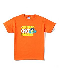 So cute! I want to get 2 of these for my grandsons..Orange 'Chick Magnet' Tee - Boys on Zulily