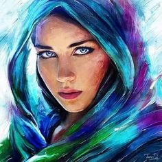 colorful woman painting by tanidm oil painting Colorful Paintings, Beautiful Paintings, Watercolor Portraits, Watercolor Paintings, Pencil Painting, Oil Paintings, Human Art, Art Abstrait, Woman Painting