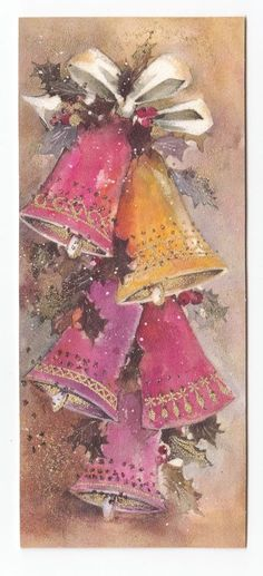 Vintage Greeting Card Christmas Bells Glitter Mid-Century Pinks Retro