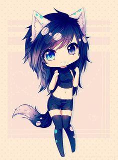 grafika black hair, wolf, and anime girl