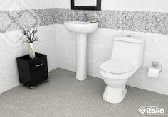 Los motivos geométricos entregan un toque moderno y atrevido a los espacios, sobre todo si son los protagonistas y los incluimos en un muro principal, o en más de una pared, el #Buzelli por su complemento con el piso permite baños completos y llenos de vida. #BañosPequeños #ElBañoQueTeMereces #CerámicaItalia Toilet, Bathroom, Bowl Sink, Apartment Bathroom Design, Walls, Spaces, Trendy Tree, Life, Hipster Stuff