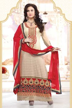 Traditional, Designer Churidar, Salwar kameez with price RM229.00, Dress Material, Trouser Suit Churidar Suit with Full Sleeve Kameez and On Knee Kameez with Maroon Chiffon Duppata. Beige Georgette Kameez designed with Kasab, Resham, Zari work. This design is perfect for Party, Festival, Casual, Ceremonial and Occasion.(Slight variation in color and patch border is possible.) http://www.andaazfashion.com.my/beige-georgette-churidar-suit-dm12506.html