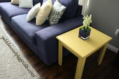 Pebbles & Piggytails: Yellow End Table Re-do and How I Cheated . . .