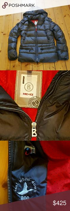 Bogner fire and ice down coat womens XS 4 EUC This gorgeous coat looks new, it is a dark gray with some shine to it. 800 down filled puffer ski coat. It is authentic Bogner form the Fire and Ice collection. This is a womens xs or size 4. I have additional pictures in another post if interested. Bogner Jackets & Coats Puffers