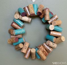 DIY Painted wine cork wreath, using nail polish
