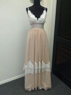 Custom Made Blush Lace And Net Wedding Dress