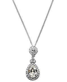Givenchy Necklace, Silver-Tone Swarovski Element Teardrop Pendant Necklace