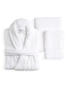 Linum Home Textiles White Terry Towel Set with Terry Bathrobe (5 PC)