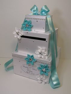 Tiffany Blue and White Wedding  Card Box Gift Card by bwithustudio, $112.00