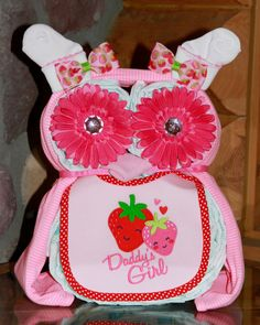 Baby Girl Diaper Owl Diaper Cake Baby Shower Centerpiece. $38.00, via Etsy.