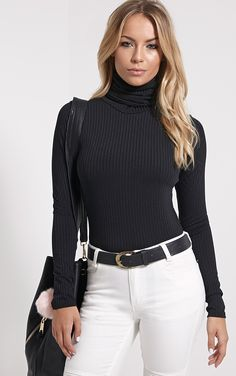 Rheta Black Ribbed Polo Neck Top Image 1