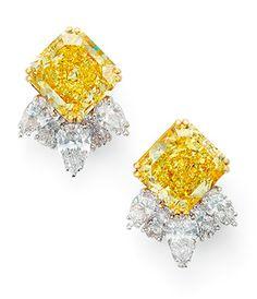 A pair of coloured #diamond and diamond ear clips, by #Molina @Molina: fancy vivid #yellowdiamond #christiesjewels