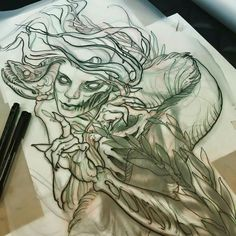 Teresa Sharpe tattoo design sketch. Gods she is an awesome artist. It's a personal dream to get inked by this lady and Jeff Gogue.