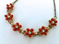 Vintage Red Flower Necklace Retro Dainty by CrimsonVintique, $32.00
