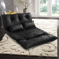 CHIC Leather Adjustable Floor Chair Sofa Bed Lounge Floor Mattress Lazy Man Couch with Pollows(Black) Sofa Bed Lounge, Chair Sofa Bed, Futon Sofa, Sofa Furniture, Living Room Furniture, Daybed Mattress, Furniture Market, Steel Furniture, Furniture Outlet