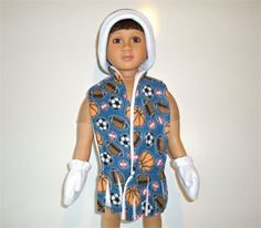 Fleece hat, scarf, and mittens set fitting the 23 inch My Twinn doll boy  The reversible scarf and hat have white on the inside. The gloves are fully lined and have enclosed elastic at the wrists. The scarf has cut fringed ends.  This set has a sports print with basketballs footballs soccer balls and baseballs. It has colors including blue, orange, brown, red, black, and white.  *As always, I give a shipping discount on multiple listing purchases. Handmade by me in my pet free and smoke free…